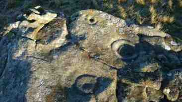 Image of ancient cup hole and carvings in grey rock in long grass