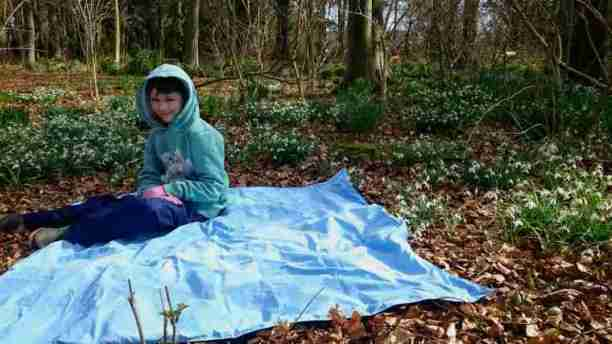 Image of girl in green hoodie and blue trousers at on blue picnic blanket in sunny woodland with snowdrops all around