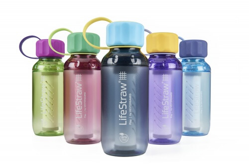 Image of 5 plastic drinking bottles in different transparent colours