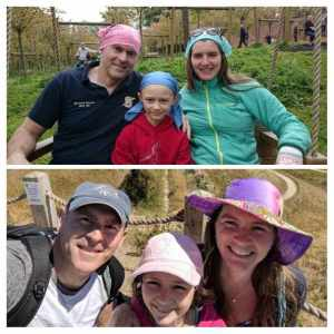 Collage of two images of same man, woman and child, one wearing cancer bandanas the other wearing outdoor sunhats