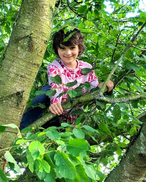 Image of dark haried smiling girl wearing pink top peering through leaves from branches of a tree