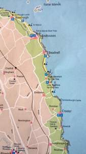 Image of map of Northumberland Coast AONB showing stretch from Bamburgh to Boulmer