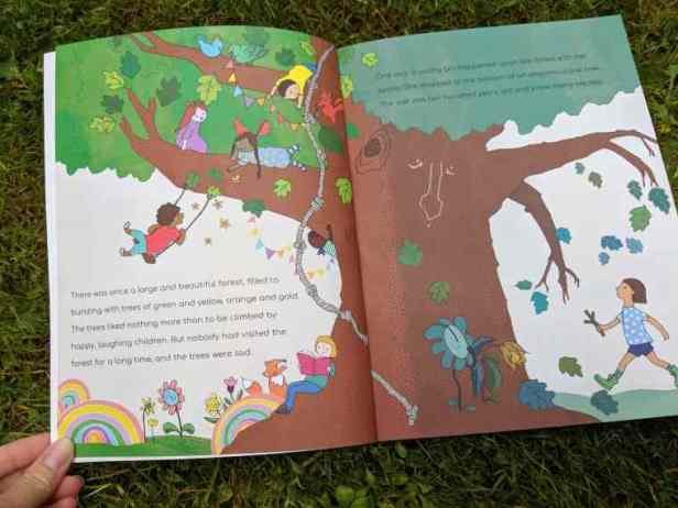 Image of double spread of children's picture book showing stylised tree in jungle forest