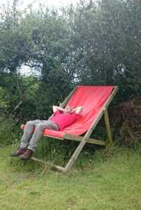 Image of man in red T-shirt lying in giant red deckchair in front of hedge