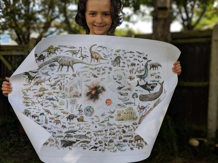 Image of smiling girl with dark wavy hair holidng a large poster depicting drawings of creation animals, dinosaurs, planets etc