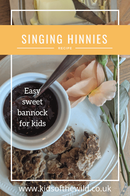 Image of plate with jam & cakes and banner saying Singing Hinnies recipe, easy sweet bannock for kids