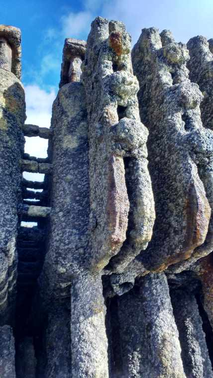 Image of rusted metal tubes covered in whiteish rough barnacles, with blue sky behind