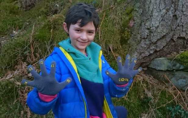 Image of girl in blue jacket in front of tree and mossy bank holding up spread fingers wearing grey gloves with yellow numbers on fingertips and the word COGS on palm
