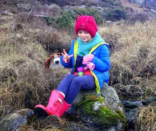Image of girl in pink boots, blue coat and red hat sitting on rock in heather with water bottle and bear