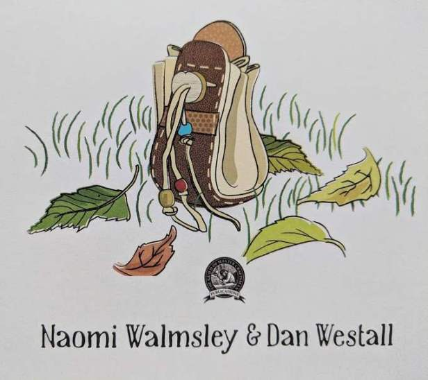 Image of illustration of back pack and leaves with words Naomi Walmnsley and Dan Westall beneath