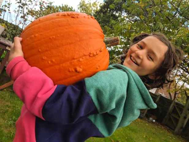 Image of laughing girl in red and green top struggling to hold giant orange warty pumpkin