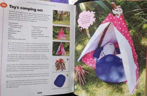 Image of double page spread of 100 outdoor activities book showing toy camping set and photo