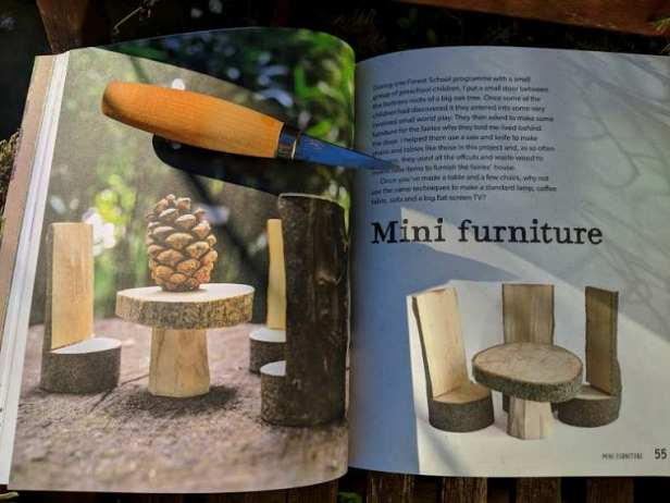 Image of double page spread of book showing phioto of miniature wooden carved furniture and whittling knife