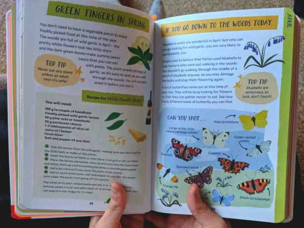 Image of child's hands holding open book with nature suggestions and pictures of butterflies