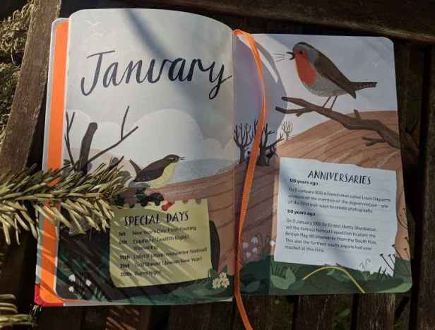Image of double page spread of picture book showing January and picture of birds singing