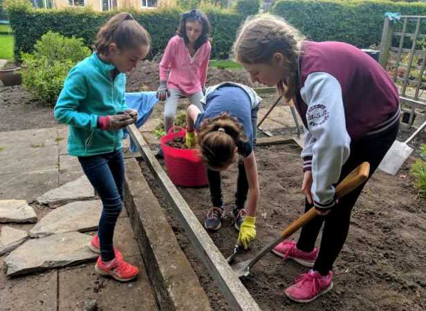 Group of 4 girls standing on soil in raised bed investigating something in the ground with trowel and spade