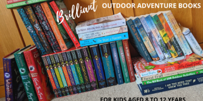 Image of a display of 30 colourful children's adventure books with the words 'Brilliant outdoor adventure books for kids aged 8 to 12 years