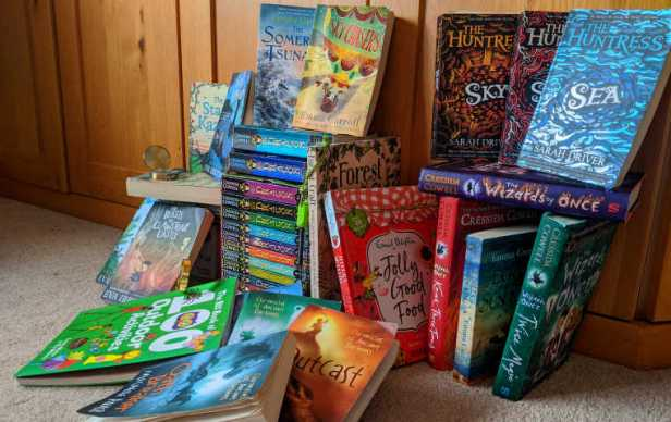 Image of several outdoor adventure books for children aged 8 to 12 years old