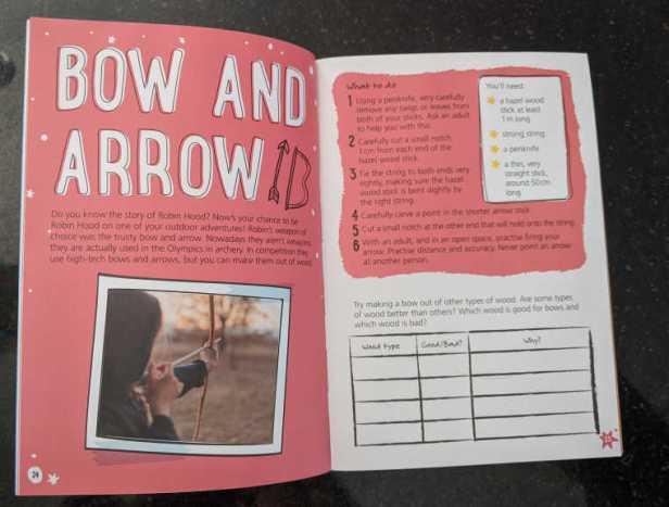 Double page spread of childrens outdoor adventure book showing bow and arrow making