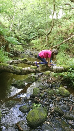 Girl balancing on log tree trunk over stream creek river