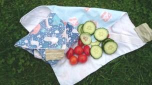 Eco sandwich wraps with veggies on grass