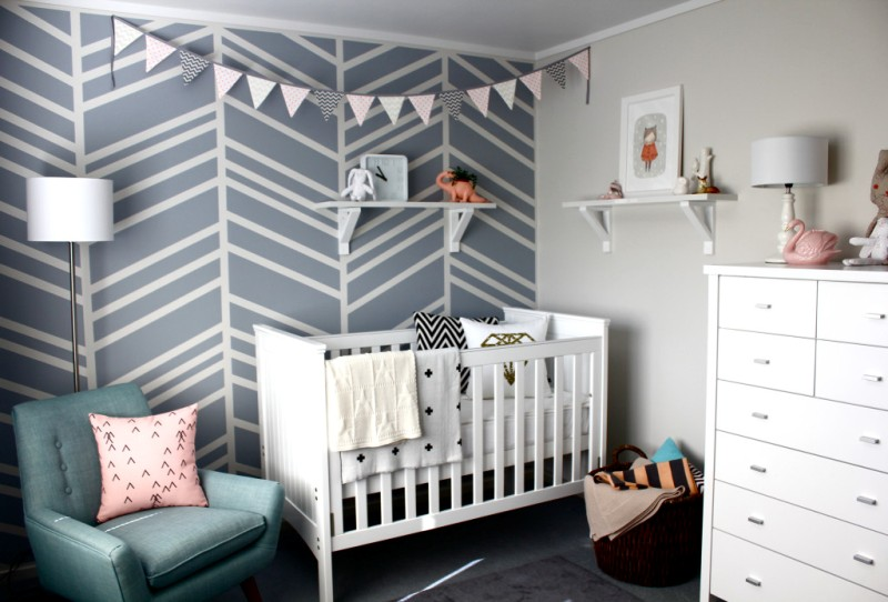 Modern Baby Girl Nursery With A Graphic Accent Wall