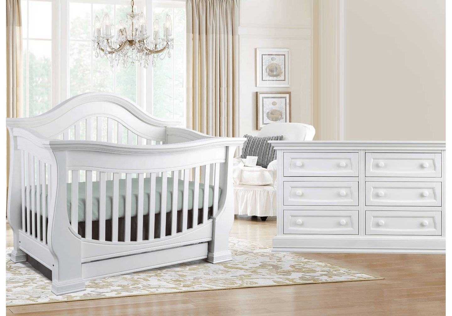 Baby Appleseed Davenport Convertible Crib in Pure White
