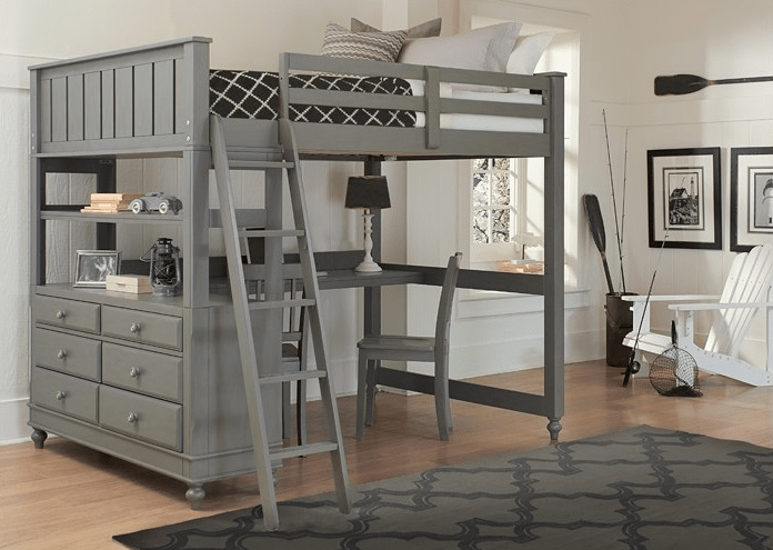 Beach House Full Size Loft in Grey  Kids Furniture In Los