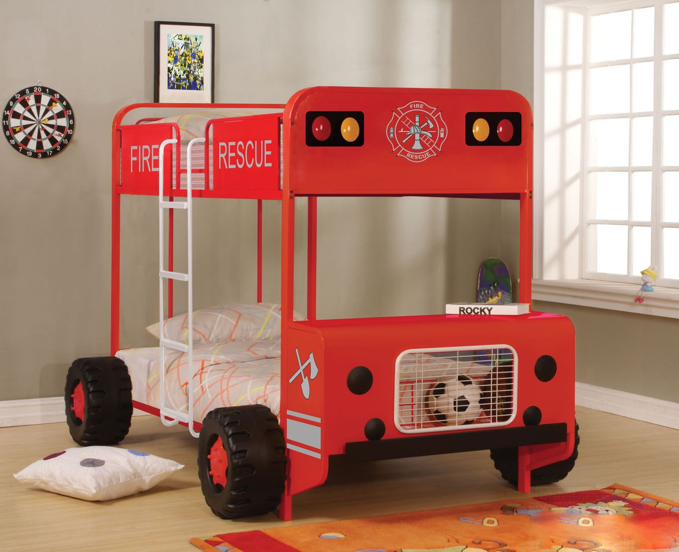 Jackson Twin Over Twin Bunk Bed In Red And Black Finish
