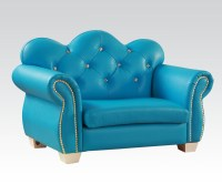 Celine Kids Loveseat Chair in Blue PU - Kids Furniture In ...