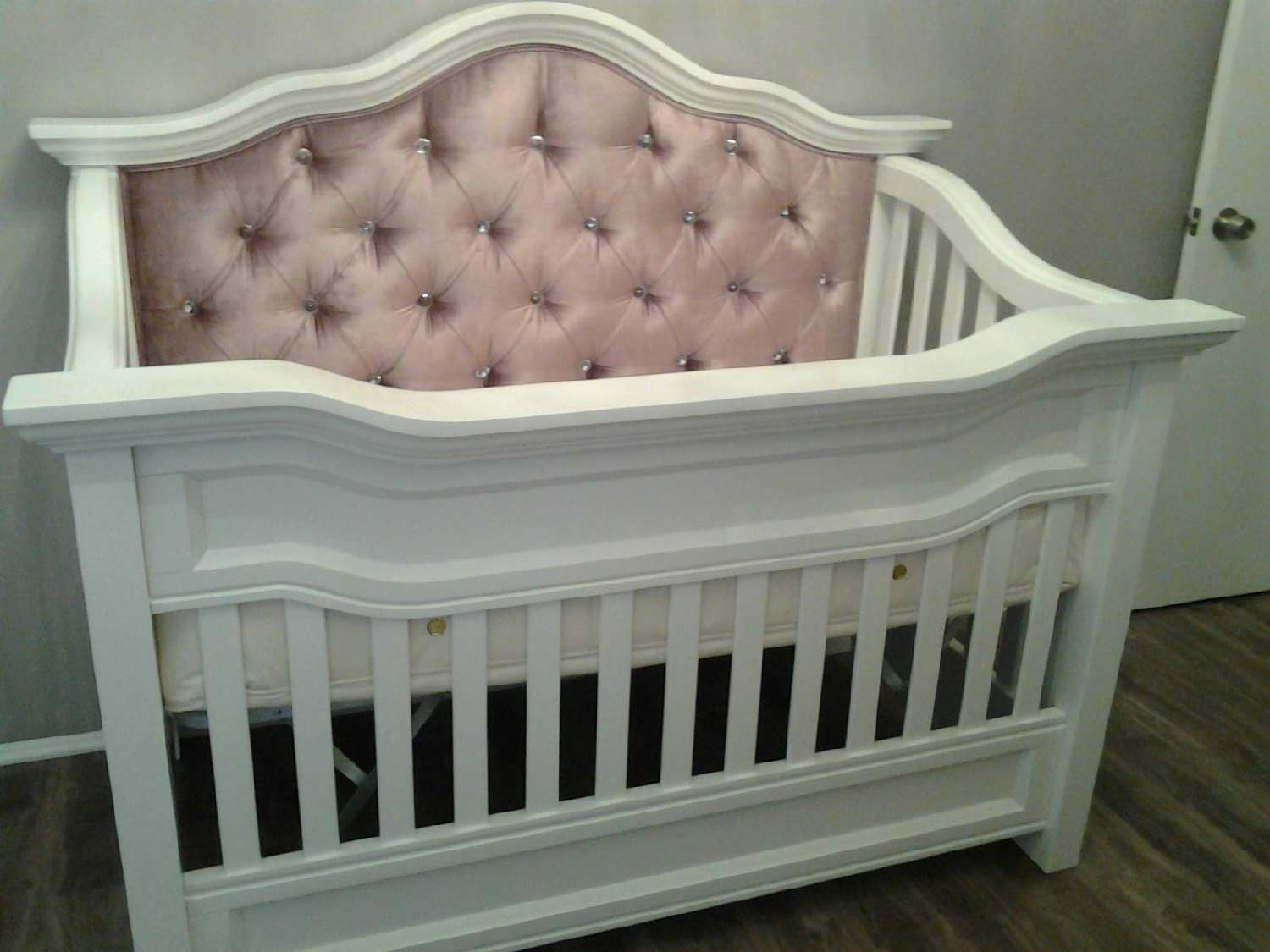 rocking chair for nursery ikea poang covers millbury custom tufted convertible crib - kids furniture in los angeles