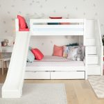 Maxtrix Twin Over Full Staircase Bunk Bed With Slide White Natural And Chestnut Kids Furniture In Los Angeles