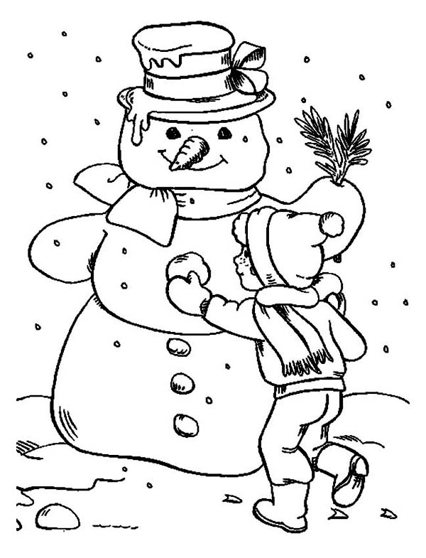 A Children Finishing His Giant Snowman Coloring Page