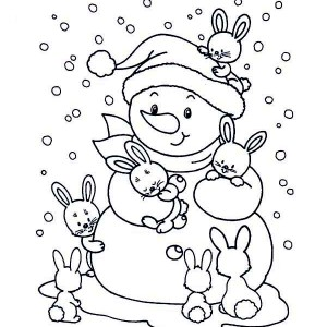 Heavy Snow Rain On Winter Coloring Page : Kids Play Color