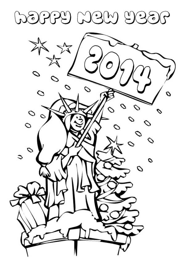 Happy 2014 New Year Says Mrs Liberty Coloring Page : Kids