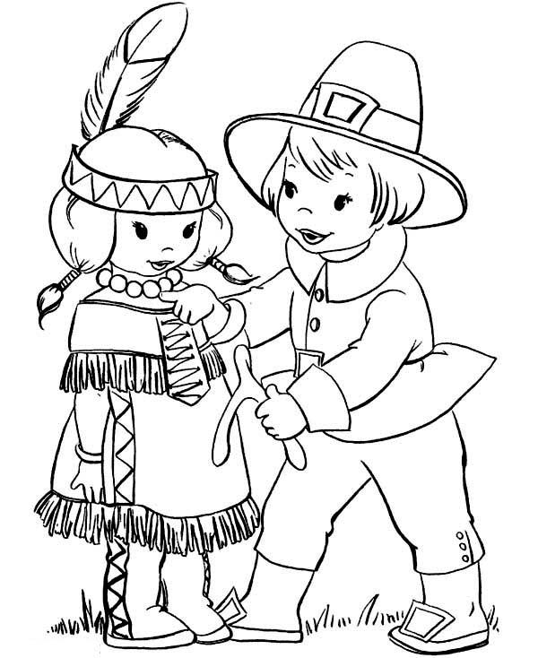 Pilgrim Boy Giving Thanksgiving Day Wishbone To Little