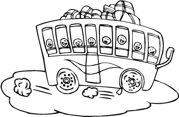 A Packed School Bus For Field Trip Coloring Page : Kids