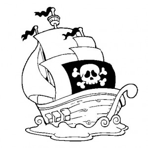 A Pirate Ship Near The Shore Coloring Page : Kids Play Color