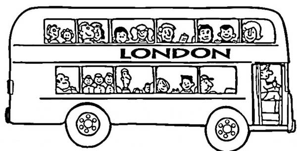 Its London Double Decker School Bus Coloring Page : Kids