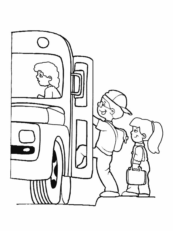 Lets Boarding The School Bus Coloring Page : Kids Play Color