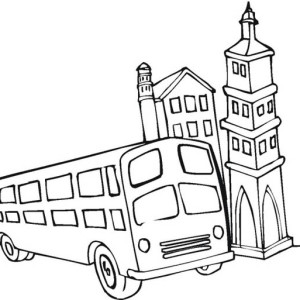 A Funny School Bus As Cartoon Character Coloring Page