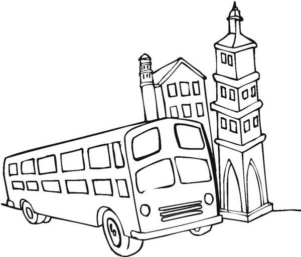 School Bus Beside A Church During School Field Trip