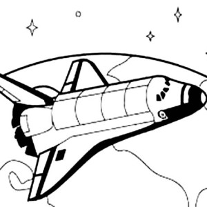 Space Shuttle Orbiting The Earth Surface Coloring Page