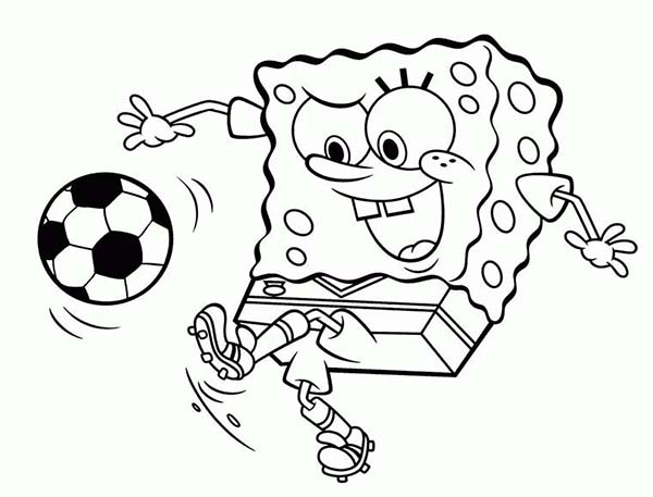 SpongeBob Playing Soccer Coloring Page : Kids Play Color