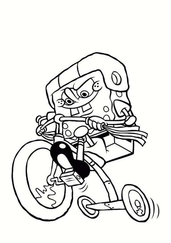 SpongeBob Riding A Kids Bike Coloring Page : Kids Play Color