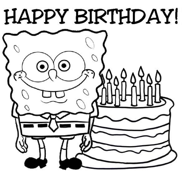 SpongeBob Says Happy Birthday Coloring Page : Kids Play Color