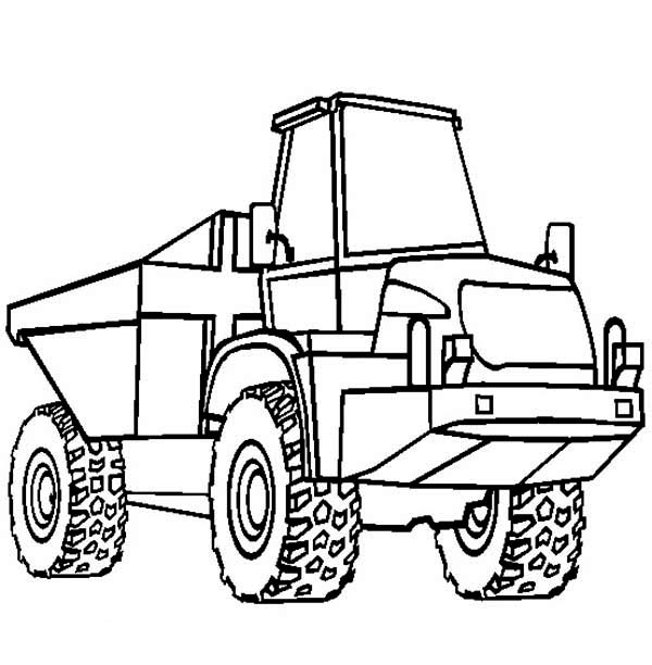 Semi Trailer Dump Truck Ready To Work Coloring Page : Kids