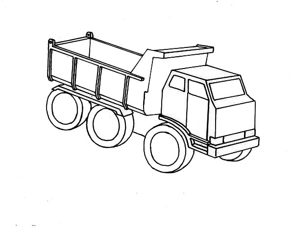 Wooden Toy Of Dump Truck Coloring Page : Kids Play Color