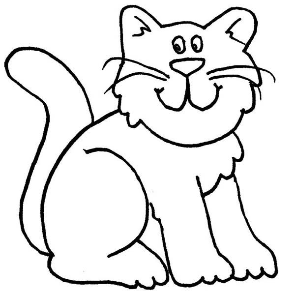 A Cartoon Drawing Of Funny Kitty Cat Coloring Page : Kids