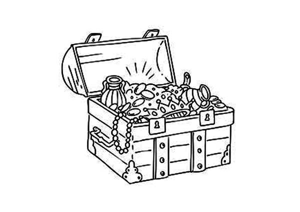 A Classic Medieval Treasure Chest Coloring Page : Kids